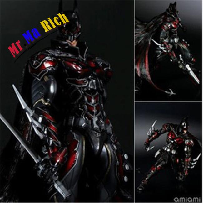 27CM Play Arts KAI DC Comics Variant NO.1 Batman Red Limited Color Ver. PVC Action Figure Collectible Model Toy playarts kai batman arkham knight batman blue limited ver brinquedos pvc action figure collectible model doll kids toys 28cm