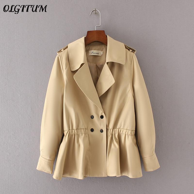 2019 Women windbreaker coat casual elastic waistband slim thin windbreaker fashion lapel short windbreaker   trench   coat