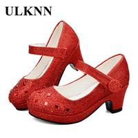 ULKNN Girls High Heel Shoes For Girls Princess Shoes Children Girl Spring Sequin Leather Shoe Kids