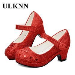 Ulknn meninas sapatos de salto alto para meninas princesa sapatos crianças menina primavera lantejoulas sapato de couro crianças festa casamento brilho cristal