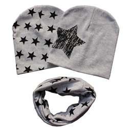 Ребенок хлопка звезды шляпа Дети для мальчиков и девочек 2 предмета шапки + 1 шт. шарф основы комплект H7