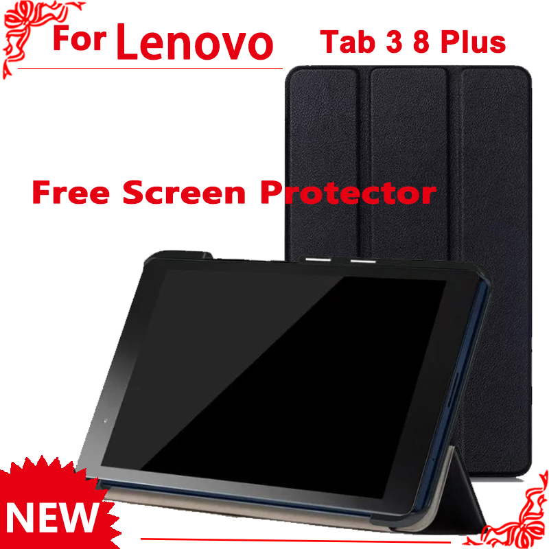 PU Leather Cover Case for Lenovo Tab 3 8 Plus TB-8703 TB-8703F TB-8703N (TAB3 8 Plus) 8 Inch Tablet + 2 Pcs Screen Protector official original tab3 8 plus smart leather case for lenovo tab 3 8 plus tb 8703 tb 8703f tb 8703n with hand strap and card slot
