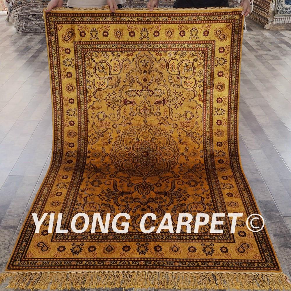a135c3991 ᑎ‰ييلونغ 4'x6 'العتيقة الذهبي التركية السجاد سجاد الحرير تصميم ...