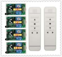 AC220V Intelligent Digital RF Wireless Remote Control Switch System 4pcs Receiver For Projection Screen Garage Door