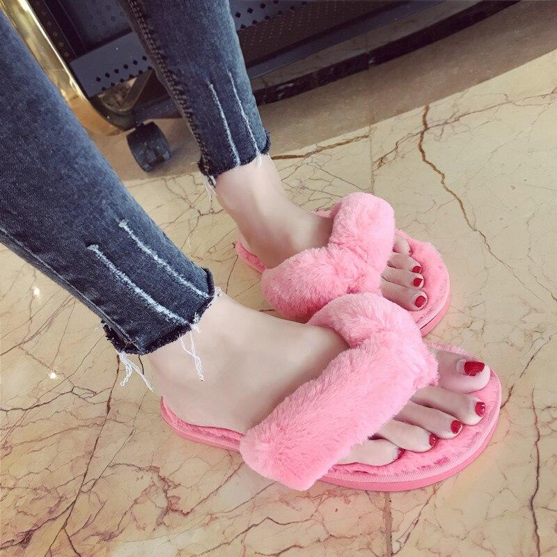 Winter Slippers 2018 Women Autumn Faux Fur Home Shoes Warm Plush Slipper Ladies Cotton Indoor House Flip Flops Woman Flat Shoes
