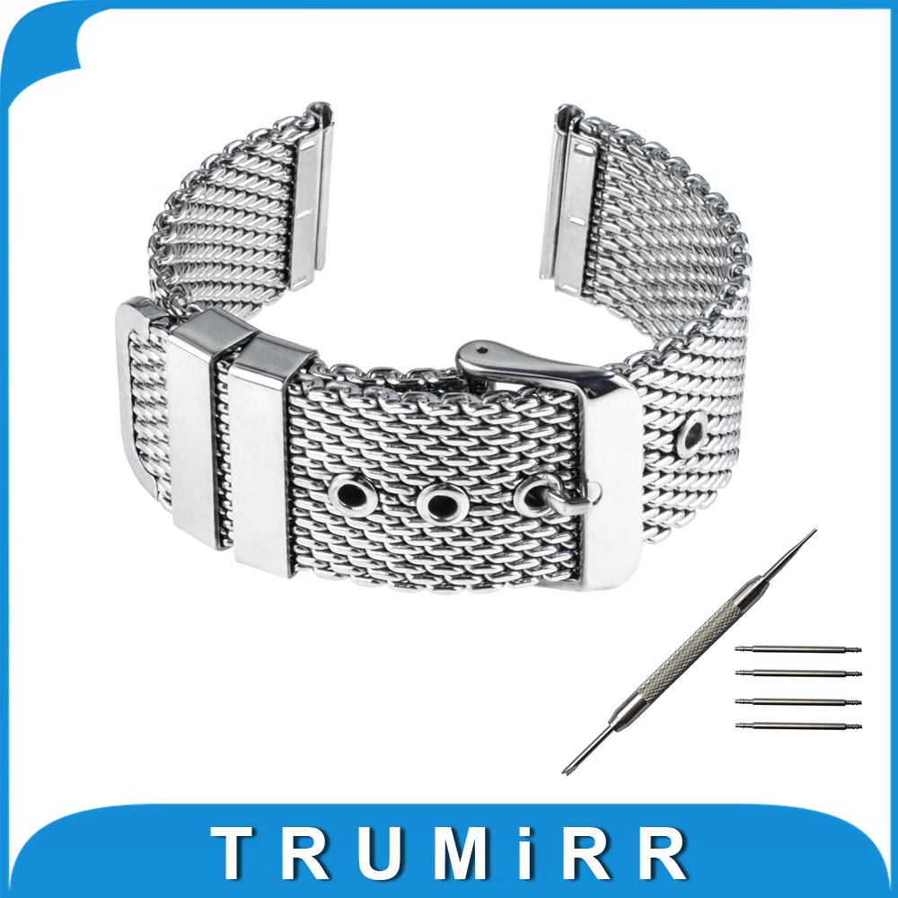 20mm Milanese Watch Band + Tool for Samsung Gear S2 Classic R732 / R735 Stainless Steel Strap Wrist Belt Bracelet Black Silver stainless steel cuticle removal shovel tool silver
