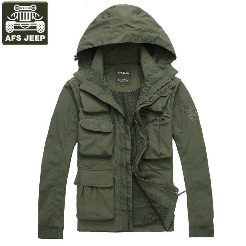 AFS JEEP Brand Mens Spring Jacket Army Military Jacket Men Hooded Collar Multi-pockets Hat&Sleeves Detachable Jacket veste homme