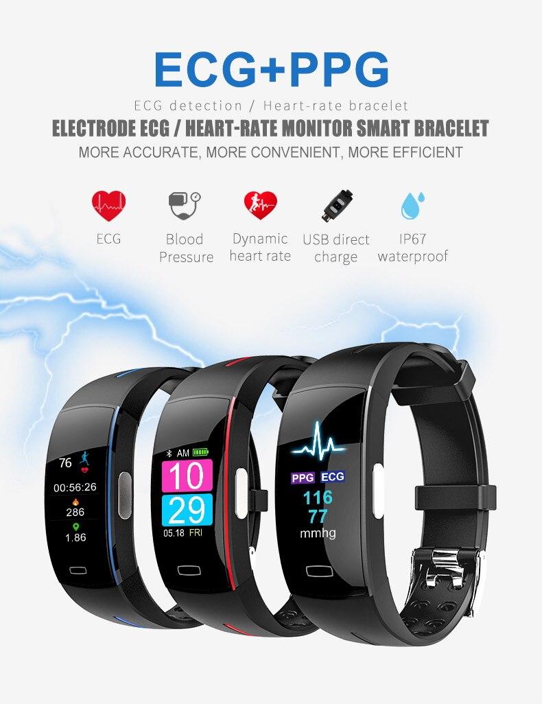 2018 P3Plus blood pressure wrist band heart rate monitor PPG ECG smart bracelet Activit fitness tracker intelligent wristband (1)