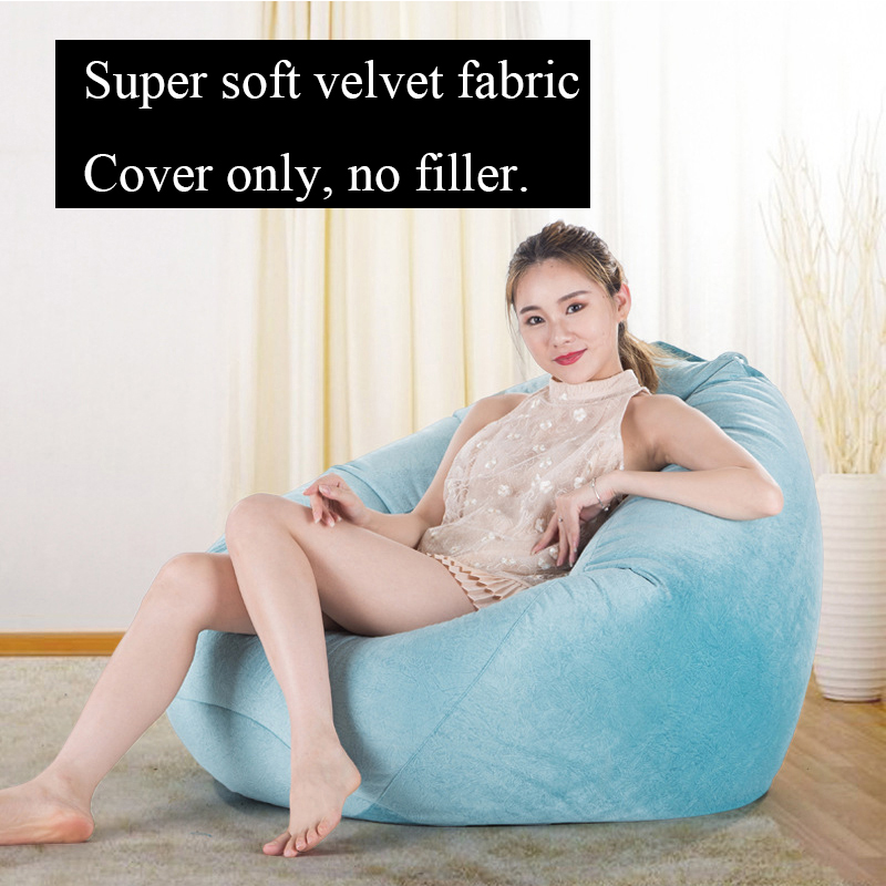 Cover Only Velvet Fabric Bean Bag Sofa Living Room Lazy Seat Lounger BeanBag Sofa Bed Cover Without Filler Outdoor Furniture image