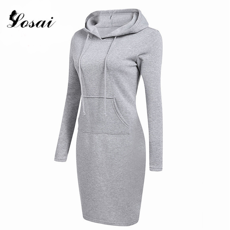 Plus Size XXL Fashion Hooded Long Sleeve Fleeces Women Dresses Autumn Winter Dress Ladies Vestidos Hoodies Sweatshirt Vestido