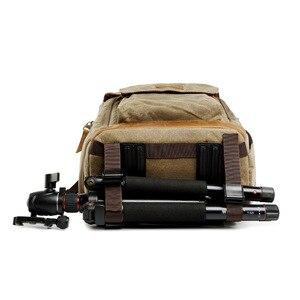 Image 5 - Saco de fotografia de lona à prova dwaterproof água das mulheres dos homens bolsa de ombro câmera mochila para canon dslr slr digital