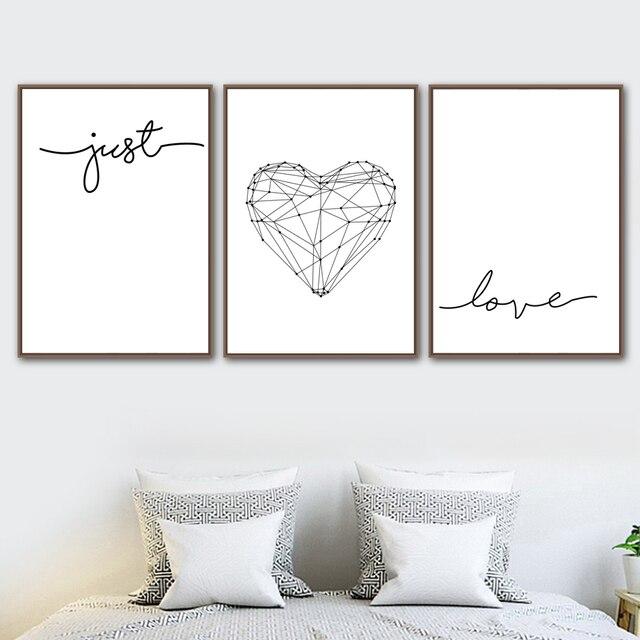 Black White Geometric Heart Quotes Love Wall Art