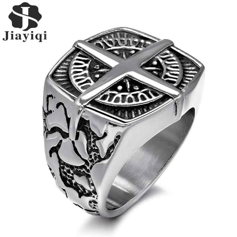 Jiyaiqi แหวนผู้ชาย VINTAGE เงินสแตนเลสสตีลเข็มทิศสไตล์แฟชั่นผู้ชายแหวนชายแหวนเครื่องประดับ