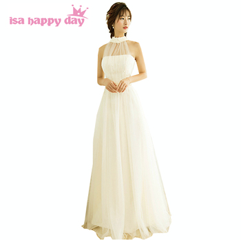 champagne bridesmaid halter top bridesmaids tulle day dresses girls elegant dress for a wedding guest under $100 H3918
