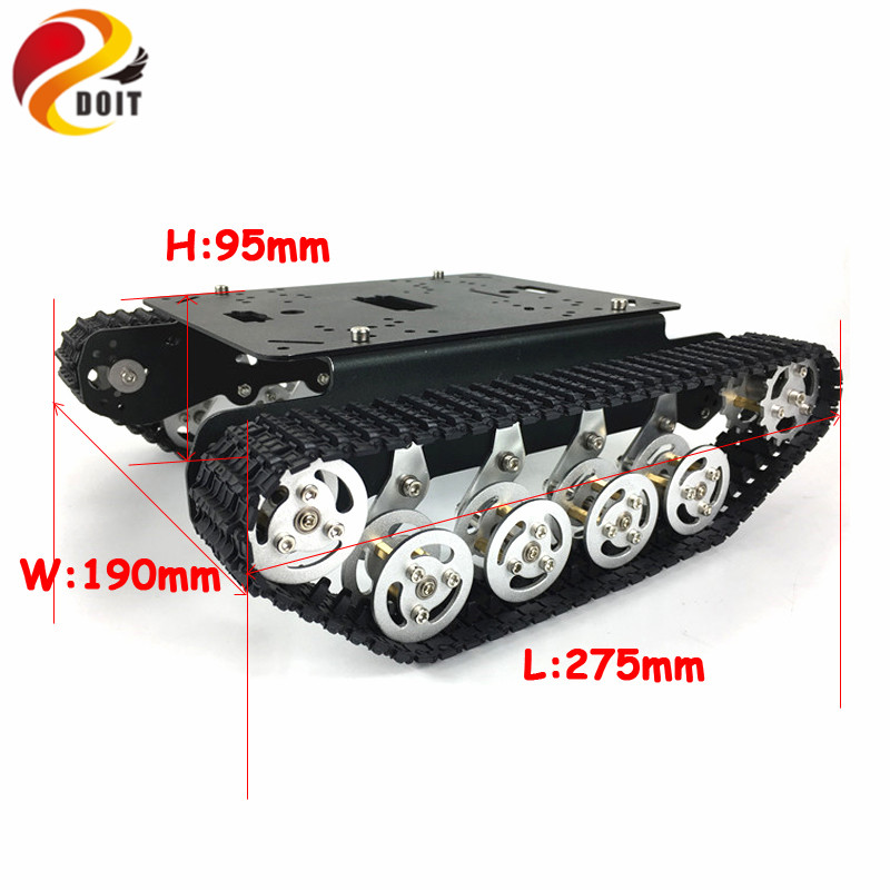 Metal robot tank car chassis tracked vehicle track crawler caterpillar Shock Absorber robotics diy rc toy teaching platform doit ts100 metal shock absorber robot tank chassis tracked vehicle track car crawler caterpillar for arduino diy rc toy teach