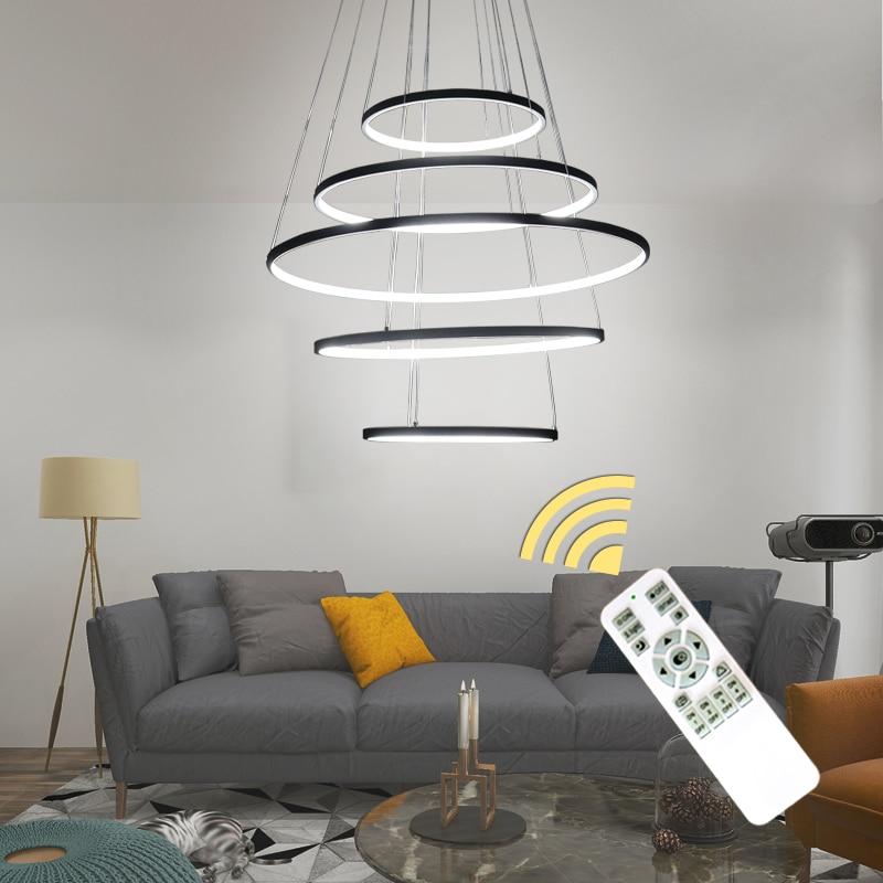 Nouveau cercle anneaux moderne LED lustre lumières pour salon chambre 5 4 3 2 niveaux mode LED lustre maison luminaire