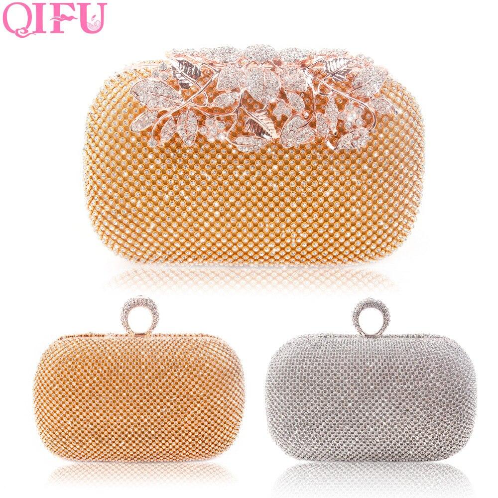 QIFU Luxurious Gold Wedding Bag Clutch Rhinestones Evening Handbags Bridal Shower Gift Wedding Decoration Bride Party Favors
