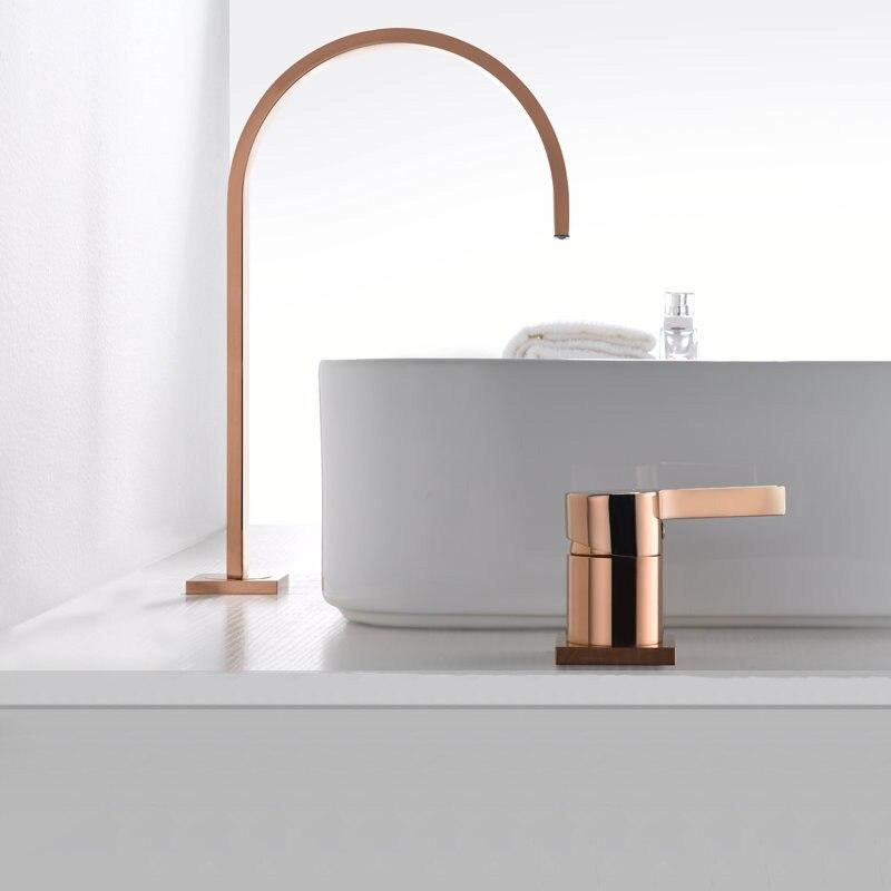 Basin faucet Bathroom super long pipe two holes Rose Gold bathroom faucet sink tap 360 rotating