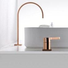 Кран для раковины, ванная комната, Супер длинная труба, два отверстия, розовое золото, широко распространенный кран для ванной комнаты, кран для раковины, 360 Вращающийся широко распространенный кран для раковины