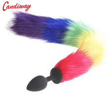 6d697e4df rainbow Fox Tail DOG TAILS Butt Anal Plug Sex Toy BULLET buttplug G SPOT  roleplay Dog Tails COUPLES LOVER Products SEX GAME
