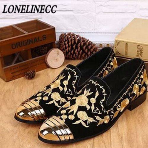 Summer Italy Designed Men Velvet Loafers Genuine Leather Slip On Party Dress Men Flats Embroidery Casual Shoes Driving Mocassin