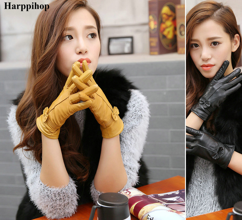 HTB11ls.PXXXXXXAXVXXq6xXFXXXb - women's genuine leather gloves red sheepskin gloves autumn and winter fashion female windproof gloves
