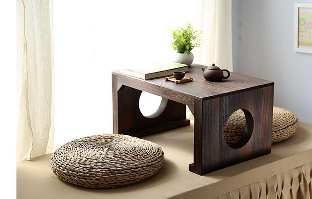 Mesa de Chá japonês Retângulo 60*40 cm Asiático Mobiliário Antigo Sala de estar Piso Baixo Mesa Lateral De Madeira Tradicional Oriental Laptop