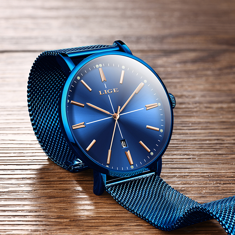 LIGE New Blue Watch Women Luxury Brand Fashion Dress Quartz Watch Ladies Full Steel Mesh Strap Waterproof Watch Relogio Feminino