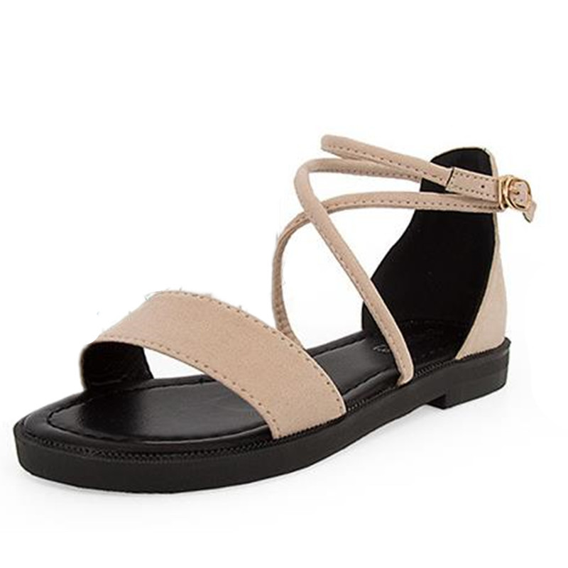 2018 Summer new word buckle flat Roman shoes female suede wild students open-toed sandals tide shoes mujer x34