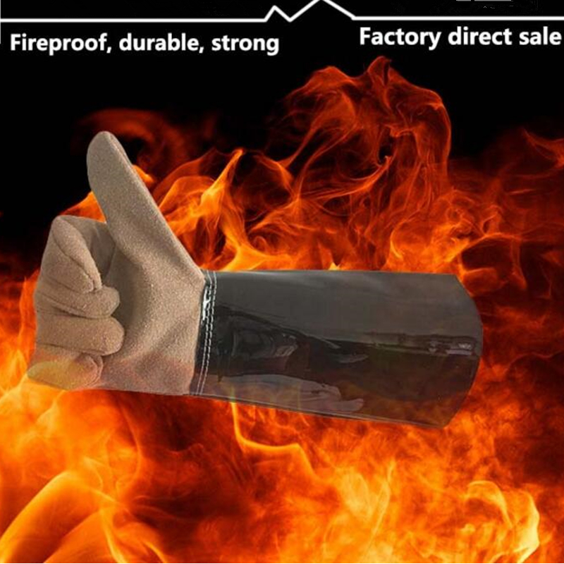 high temperature resistant splash resistant anti cold leather lengthened thickened welding gloves fireproof work safety gloves Safety Welding Gloves Fire Resistant Gloves Guantes Proteccion Calor Fireproof Wear Resisting Work Leather Long Glove Clip