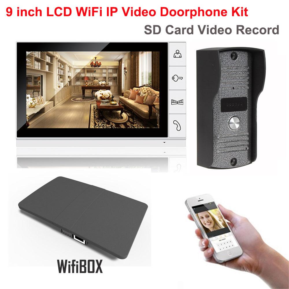 9 inch LCD Monitor 700TVL IR Camera Wireless WiFi IP Video Doorphone Intercom System Vid ...