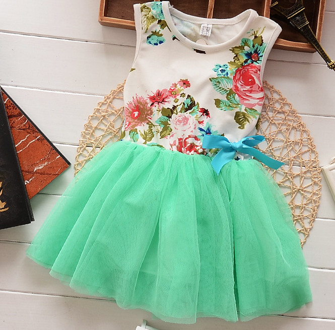 Bulk Wholesale Kids Clothes Latest Boutique Flower Print Frock Design For Baby Girls Elegant