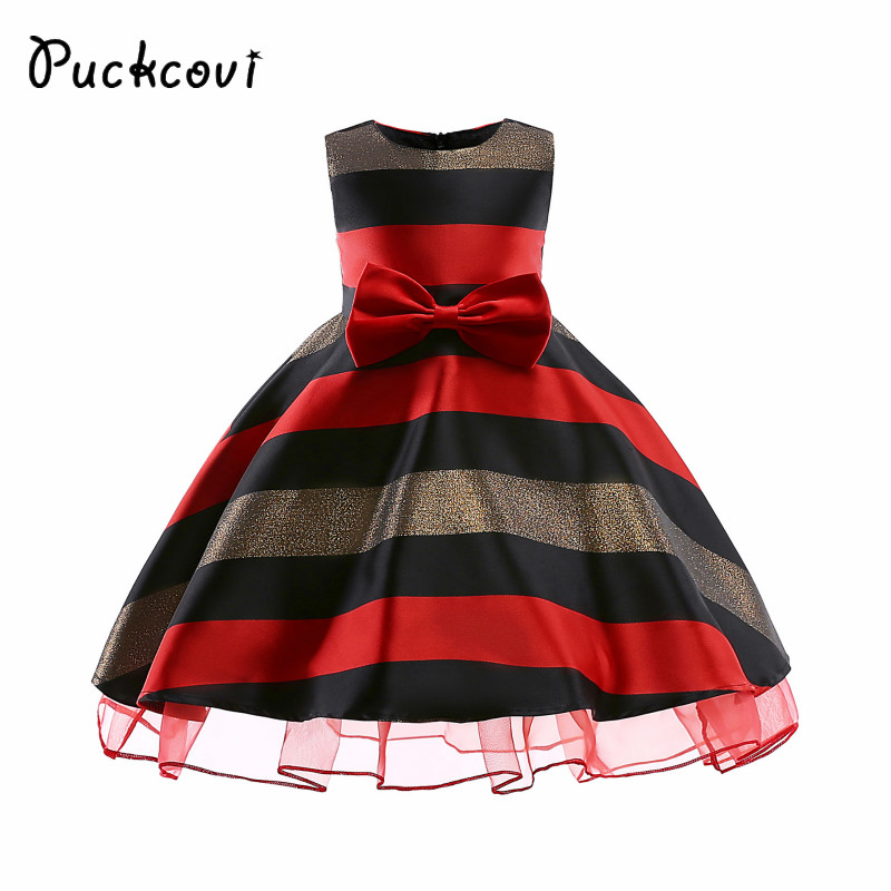 Puckcovi Girls Tutu dress 2018 Summer Princess Wedding Dress Vestidos for girl Kids clothes Vestidos Children striped onepiece