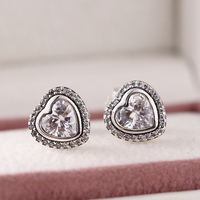 New Mother S Day Heart Stud Earrings With CZ 925 Sterling Silver For Women Brand Jewelry