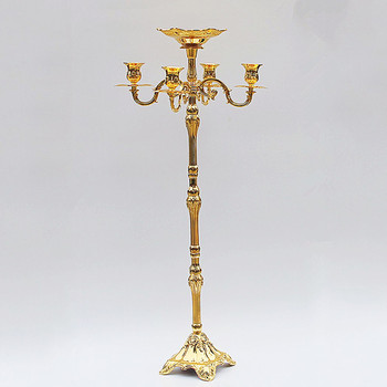 Hot sale 86cm 5 arm Gold Silver floor candelabra metal candle holders wedding decorate candelabrum nice flower bowl candle stick