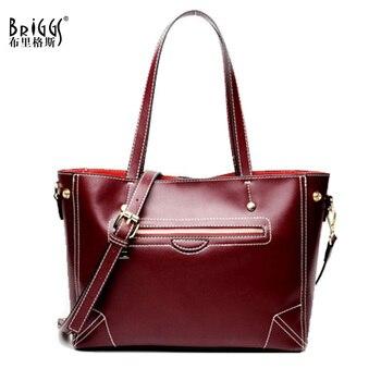 BRIGGS Brand Women Tote Bags Large Capacity Designer Genuine Leather Handbags High Quality Shoulder Bags Business Crossbady Bag tote bag