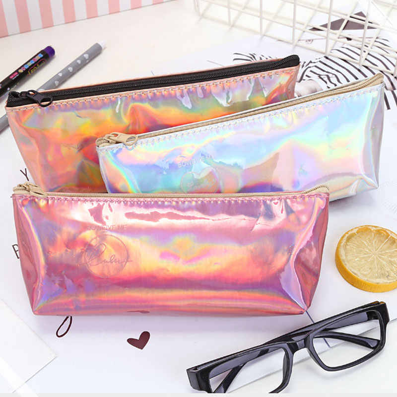 Creative Gold Silver Pink Laser Pencil Case Student Pencil Cases For Girl Stationery PU Pencil Bag Pen Pouch School Supplies