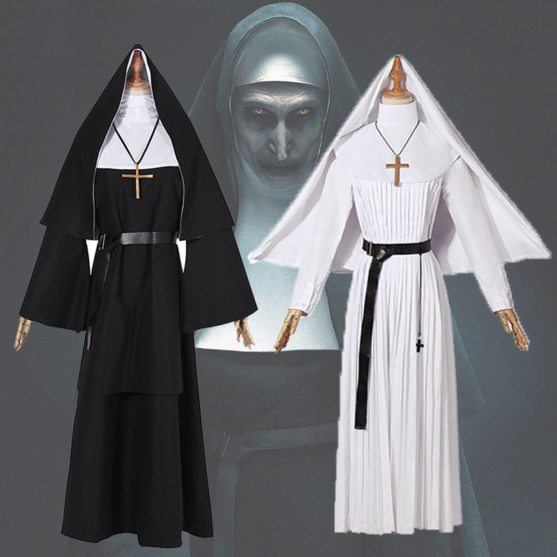 Adult Women The Nun Halloween Cosplay Costume Sister Irene Black White Cosplay 2018 Horror Films The Conjuring Party Clothing
