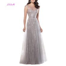 LISM Shiny Gray O Neck Formal Evening Dresses 2019 A Line Sequined Long Prom Gowns Elegant Pageant Custom Made robe soiree