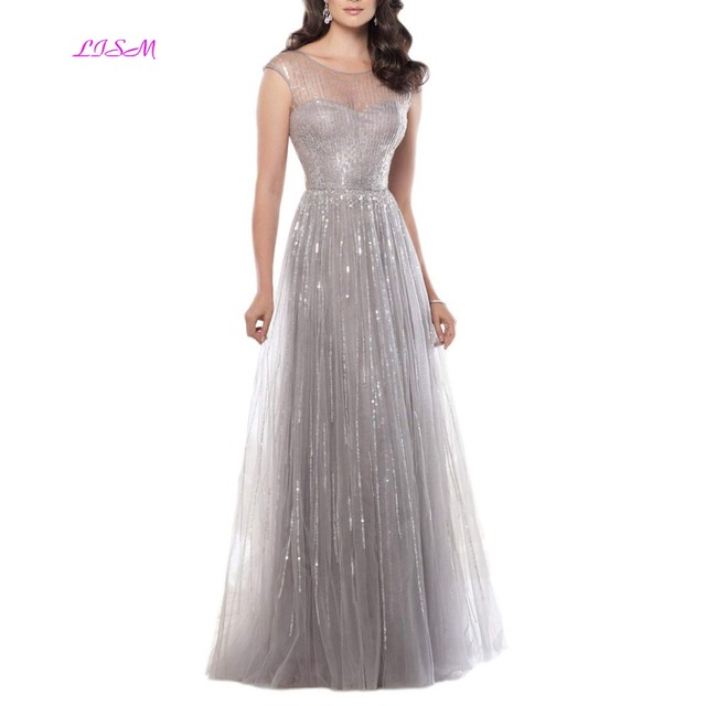 Shiny Gray Prom Dresses
