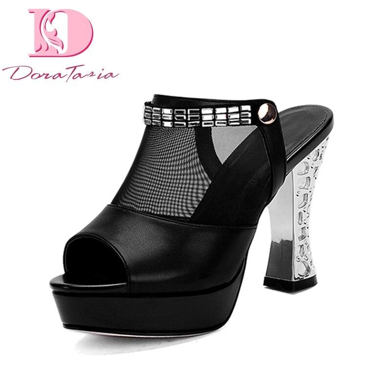 DoraTasia big size 33 44 best quality platform brand high heels Shoes Woman Summer mules pumps
