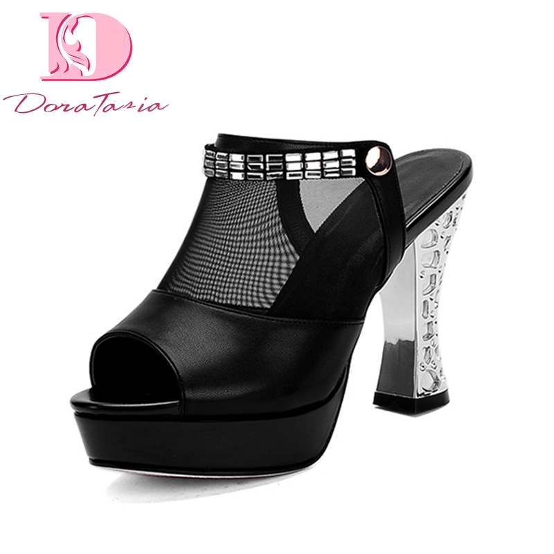 DoraTasia Big Size 33-44 Best Quality Platform Brand High Heels Shoes Woman Summer Mules Pumps Fashion Party Prom Shoes Women