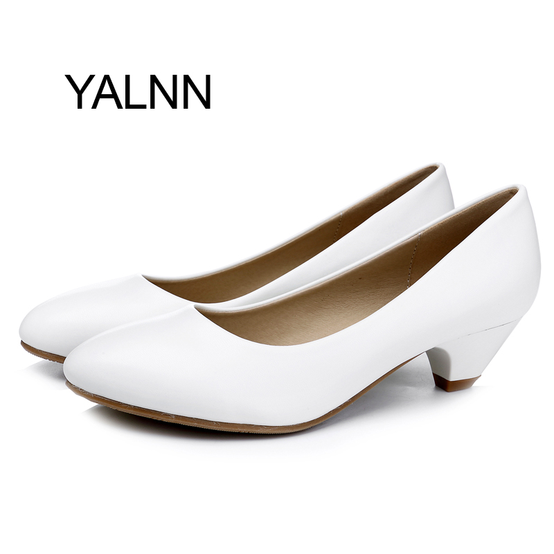 YALNN Classic Fashion White 3CM High Heels Pump Mature Women Shoes Office Lady Shallow Dress Pumps Women Shoes(China (Mainland))