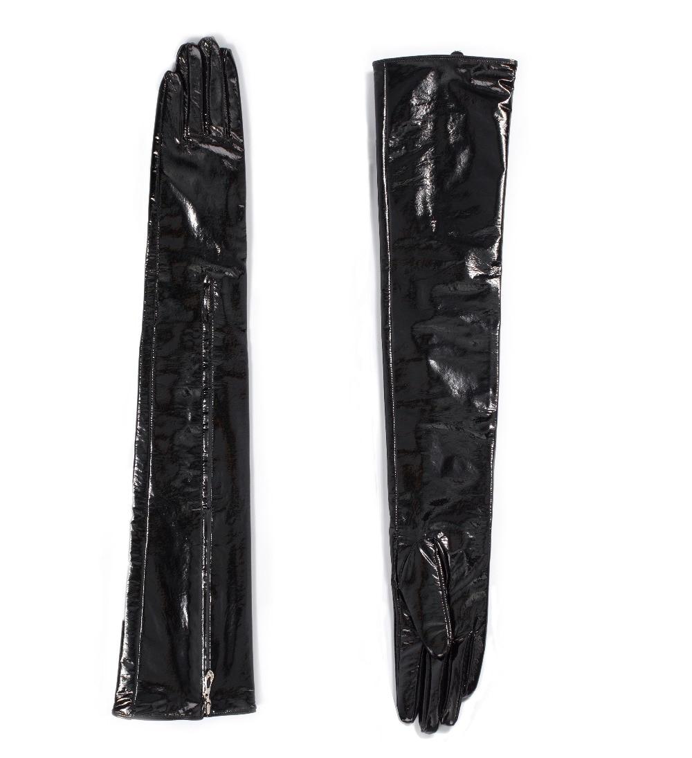 60 см (23,6 ) Средняя невидимая молния стиль настоящая лакированная кожа опера длинные перчатки черный