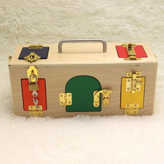 Éducation préscolaire apprentissage quotidien débloquer jouet serrure boîte aide pédagogique jouet contreplaqué éducation précoce jouets jouets éducatifs pour enfants - 4