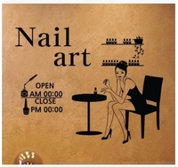 Hours Can Be Customized Nail Shop Beauty Salon Manicure Shop Features A Glass Wall Stickers Affixed
