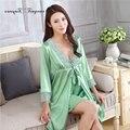 Хорошее качество женщины элегантный ночной рубашке халат набор Кружева V-образным Вырезом 4 цвета Три четверти рукав Плюс размер ночное белье