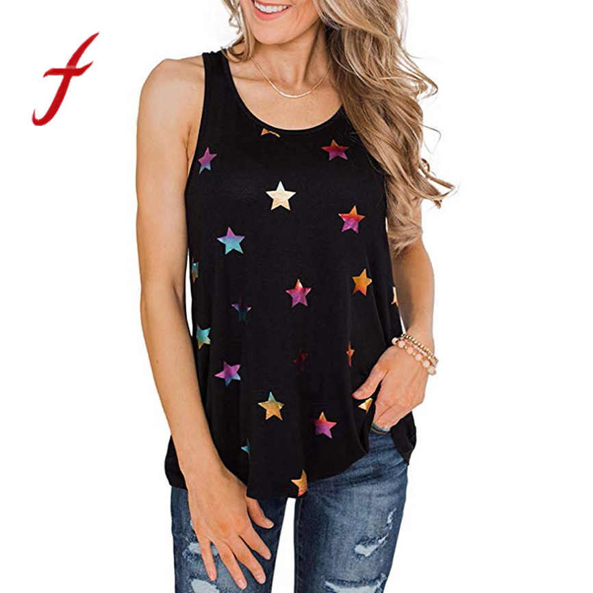 T-shirts women t shirts 2019 Cool Womens Tops Ladies casual fashion star print top vest 3 color Youth girl series reflective top