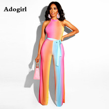 86a2cfccd86 Adogirl Colorful Collision Halter Jumpsuit Women Casual Lace Up Sleeveless  Bandage