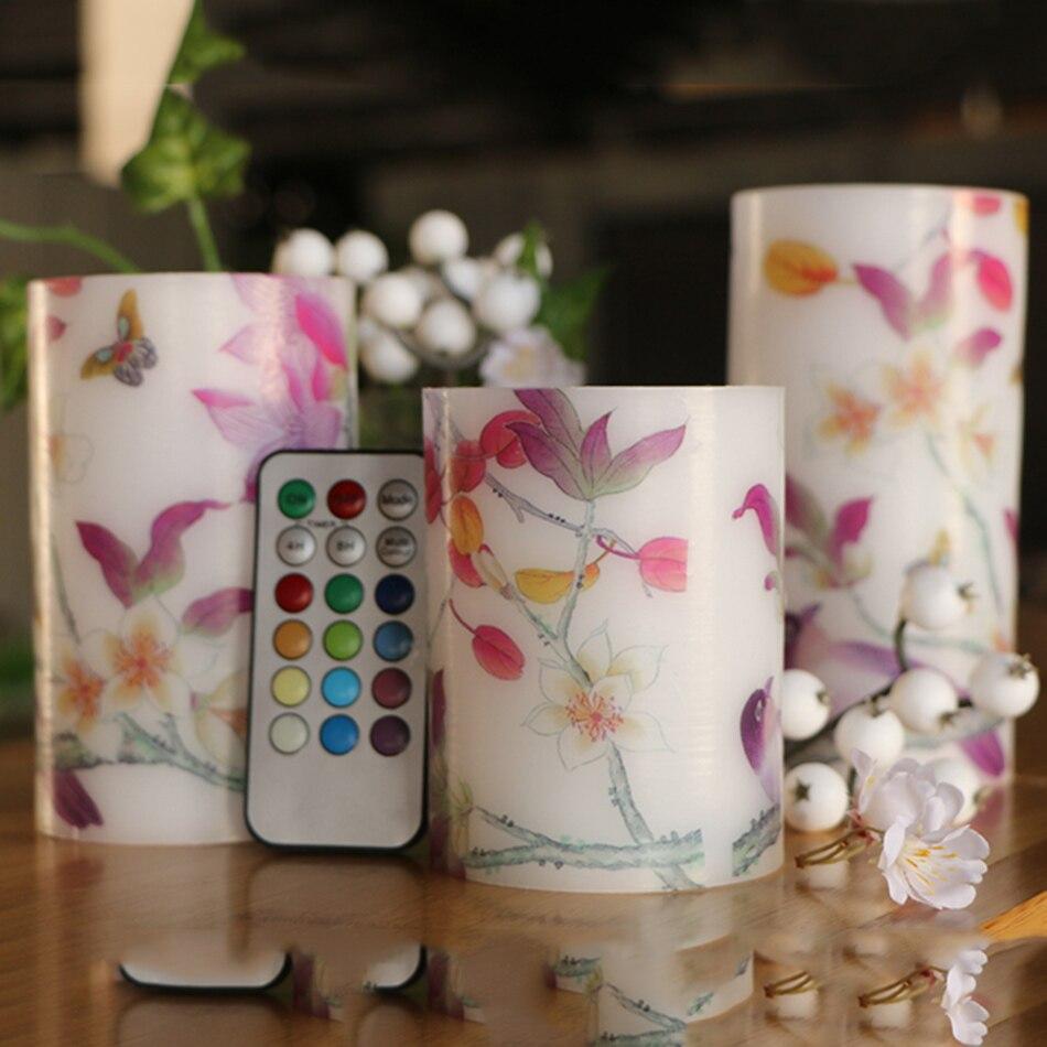 Fabuleux RGB telecomando colore multiplo LED Candele con fiori decal  OP49